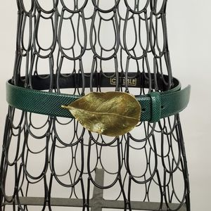 Vintage CARLISLE Green LEATHER Belt with Gold Leaf